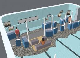 3D-Ansicht Ausstellungsbereich
